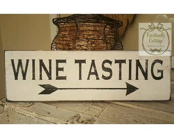 Wine Tasting, Arrow Wall Decor, Wine Gifts, Wine Decorations, Wine Lover Gift, Wood Wine Sign, Dining Room Wall Art, Rustic Home Decor