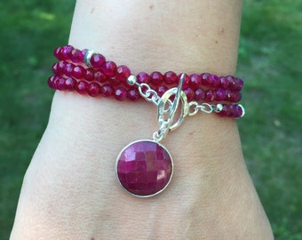 Ruby Wrap Bracelet and or Necklace