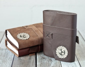 Leather Journal, Rustic Travel Journal, Diary, Sketchbook