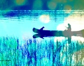 Boat Art, Man Dog Photomontage, Canoe Silhouette, Blue Water, Nautical Art, Down River, Aqua Green, Home Decor, Wall Hanging, Giclee Print