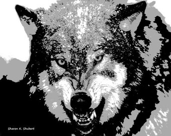 Angry Snarling Wolf Art, Southwestern Wall Decor, Native American Totem Animal, Wolves Home Decor, Black Gray White, Giclee Print, 8 x 10