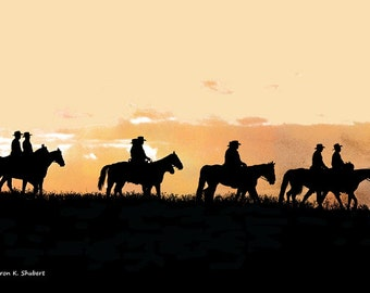 Texas Cowboys & Cowgirls Art, Wild West, Riding Horses, Southwestern Wall Hanging, Silhouettes Home Decor, Western Decorative, Giclee Print