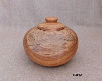 "9"" Pecan Wood Candy Jar"