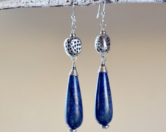 Lapis Lazuli Teardrops Sterling Silver Earrings. Navy Blue Lapis Lazuli Smooth Large Teardrops. Contemporary Rustic Earrings. Mixed Metal.