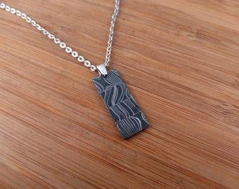 Gibeon Iron Meteorite Damascus Silver Pendant
