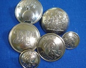 Vintage Uniform Buttons - Silvered Uniform Buttons from Denmark