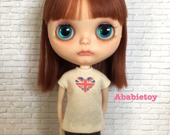 Off White Cotton Jersey T-Shirt for Blythe - Heart