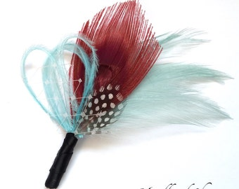 Ready to Ship PENNY Boutonniere - Dark Red Peacock Feather Lapel Pin with Seamist Aqua Blue and Aqua Satin Wrap