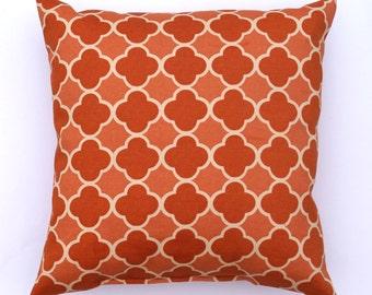 Orange Outdoor Pillow, Orange Persimmon Moroccan Tile STUFFED Outdoor Throw Pillow, Orange and Cream Geometric Pillow - Free Ship