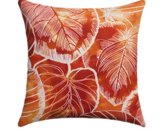 Orange, Red, Golden Yellow, Ivory OUTDOOR Pillow, Key Cove Cayenne Orange Leaves STUFFED Outdoor Patio Pillow, Orange Cushion - Free ship