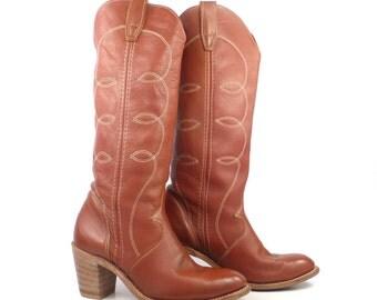 Cowboy Boots Vintage 1980s Wrangler Brown Women's size 8 M