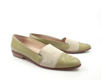 Nordstrom Flats Shoes Vintage 1980s Linen and Leather Women's size 9 N