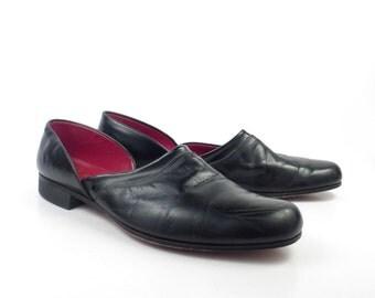 Black Leather Slippers Vintage 1960s Evans Slip on Shoes men's size 8