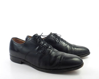 Black Oxford Shoes Leather Vintage 1980s Johnston and Murphy Men's size