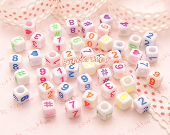 Numbers Cube Beads (6mm) - 108 pieces approx. | Acrylic Beads | Plastic Beads | Resin Jewelry | Kawaii Beads
