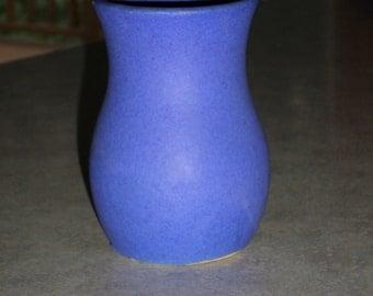 Arts & Crafts Era Burley Winter Ohio Pottery matte blue mottled vellum glaze small Vase