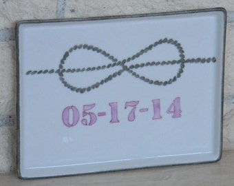 Hand painted porcelain custom tray with wedding or anniversary date