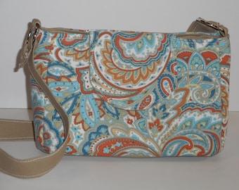 Purse Shoulder Bag Flap Medium-Sized Bag Teal Orange White Paisley Adjustable Strap Pockets Ready to Ship