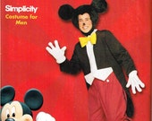 Mens Mickey Mouse Disney Halloween Costume Sewing Pattern Simplicity 9386 0612 Adult XS S M L XL Bust Chest 30 32 34 36 38 40 42 44 46 48
