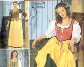 Renaissance Peasant Blouse Corset Vest and Skirt Simplicity 5582 Costume Sewing Pattern Misses Size 12 14 16 18 20 Bust 34 36 38 40 42