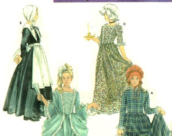 Girls Colonial Early American Pilgrim Gown Sewing Pattern Halloween Costume Simplicity 5042 Children Size S M  Bust 25 28.5