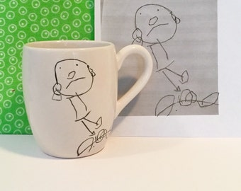 coffee mug made from YOUR child's drawing hand painted by suzaluna