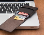Slim Leather Wallet - Mini Wallet - Leather Card Case - 'Minimum Wallet' - Hand Dyed Dark Brown - Hand Stitched - FREE SHIPPING
