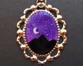 Nature at Night SUMMER MOON 21 x 30 mm Hand Painted Necklace
