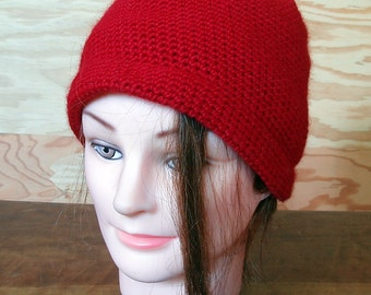 Crochet - wool - warm red hat - READY TO SHIP