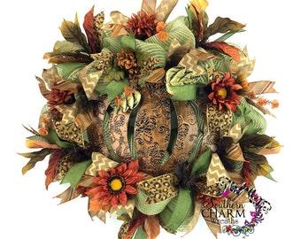 Fall Metal Pumpkin Wreath, Deco Mesh Fall Wreaths, Autumn Wreath, Pumpkin Wreath, Thanksgiving Wreath, Fall Decorations, Fall Wreath,