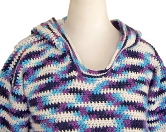 Hoodie, Pullover, Cotton Crochet, Blue, Purple Top