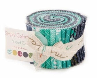 "Simply Colorful II Aqua and Blue Jelly Junior Roll by V & Co. for Moda - 20 Count Rolls of 2 1/2"" x WOF strips"