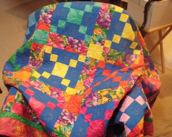 Twin sofa quilt Parrots in tropical flowers 58 x 85 inches Quiltsy Handmade