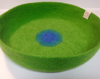 Modern Cat Bed Knit Crochet Wool Handmade Felted Pet Bed in Lime Green with Dark and Light Blue Circles