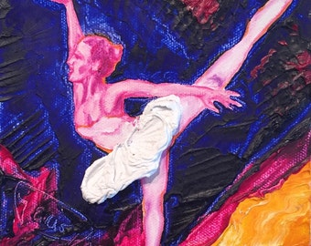 Ballerina  6x6  Inch Original Impasto Oil Painting by Paris Wyatt Llanso