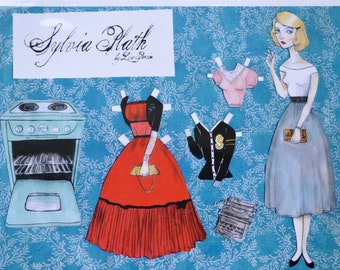 Sylvia Plath Paper Doll Cut Out with Oven Clothing and Book