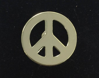 1970s Gold Peace Symbol Toy Machine Pin