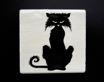 HALLOWEEN CAT Wood Mount Rubber Stamp