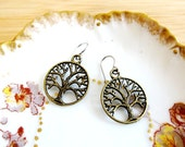 SALE Tree of Life Filigree Charm Earrings Bronze Tone