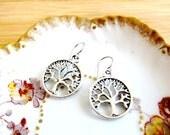 Tree of Life Filigree Charm Earrings Tibetan Silver
