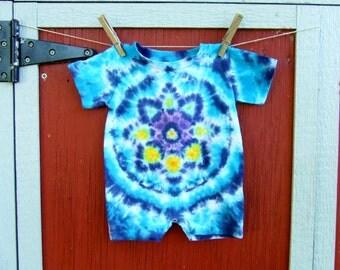 6m Tie Dye Baby Romper - Moonlight Lotus Mandala -  Ready to Ship