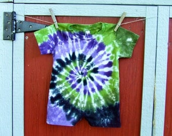 18m Tie Dye Baby Romper - Purple Black and Green Swirl -  Ready to Ship