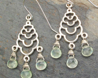 Prehnite Sterling Silver Earrings - Byzantine