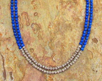 Lapis Thai Hill Tribe Silver Necklace - Blue Bayou