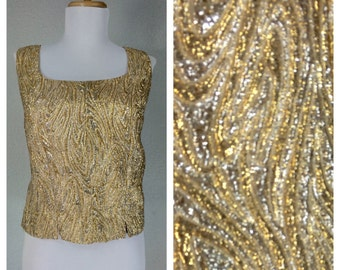 Vintage 1960s Gold Silver Swirl Crop Top Blouse