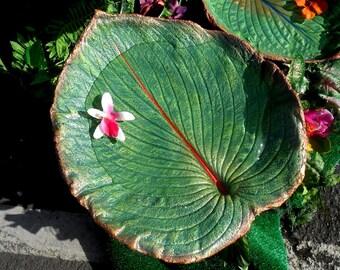 """FAIRY Garden Birdbath bird feeder concrete leaf casting (No. 6763, Hosta, 13hx12"""") for & from the garden - water bowl for birds, chipmunks"""