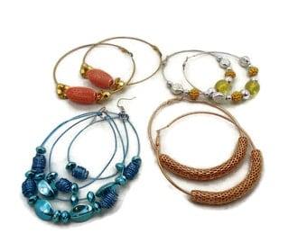 Hoop Earrings, 4 Pairs, Big Hoops, Pierced, Vintage Earrings, Blue, Gold, Silver, Huge Statement, Gypsy Earrings, Hippie, Lot, Big Large