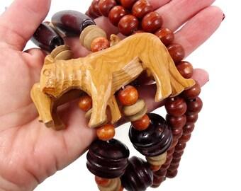 Lion Necklace, Vintage Necklace, Carved Wood, Wooden Beads, Big Statement, Safari Animal, Jungle Animal, Fetish Boho Bohemian, Ethnic Tribal