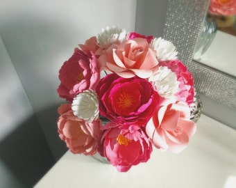 Paper flower bouquet of pink peonies with roses