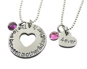 The Love Between a Mother and Daughter is Forever - Set of 2 Personalized Mother Daughter Matching Necklaces